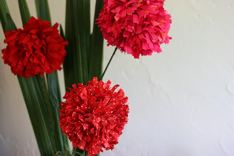 craft flowers with recycling ideas: diy fabric pom-pom flowers